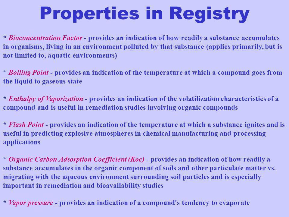 Properties in Registry