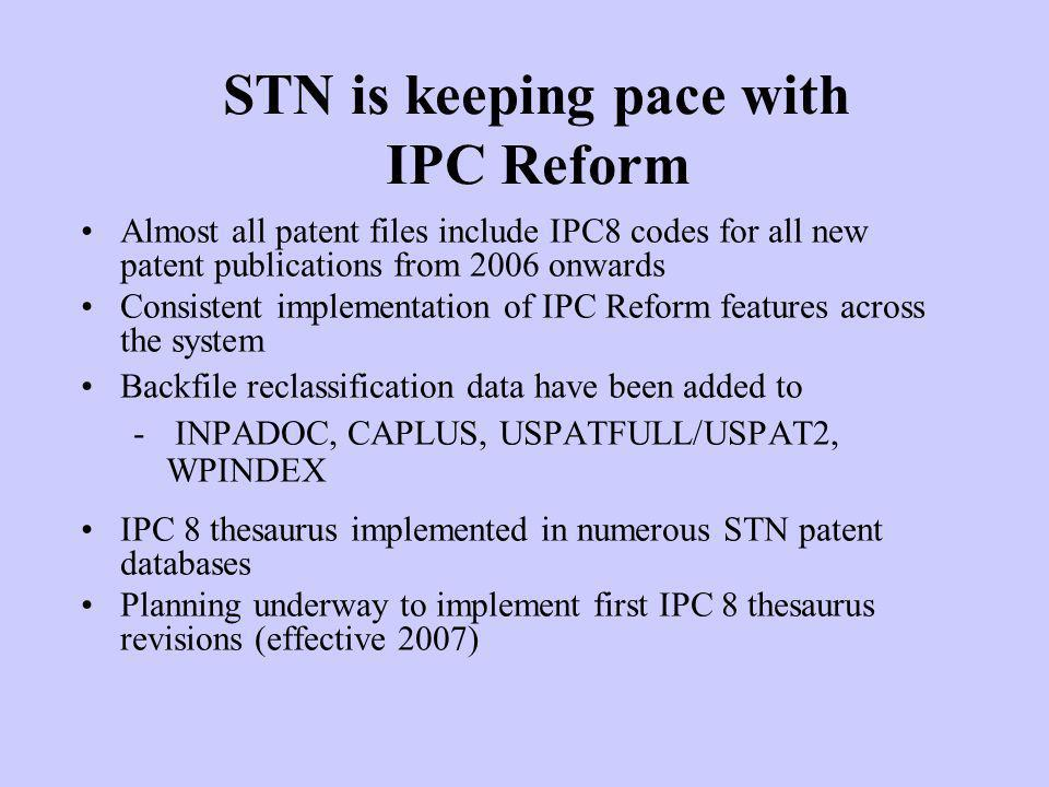 STN is keeping pace with IPC Reform