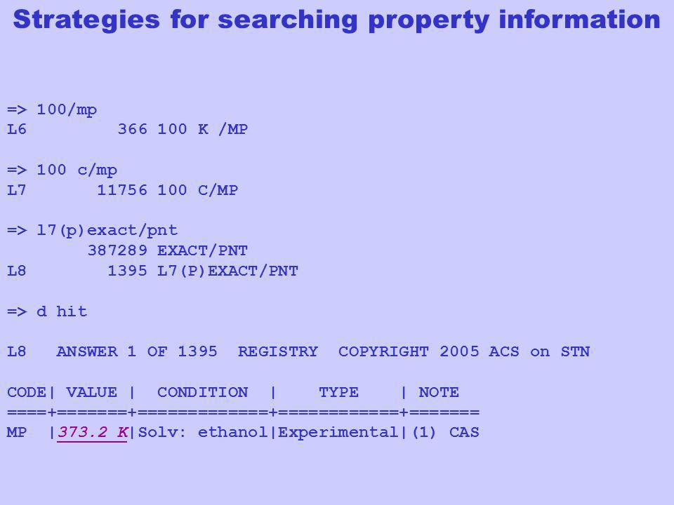 Strategies for searching property information
