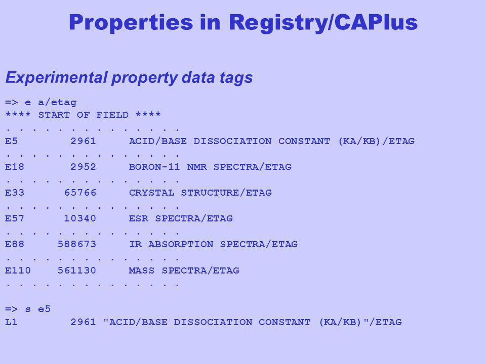 Properties in Registry/CAPlus