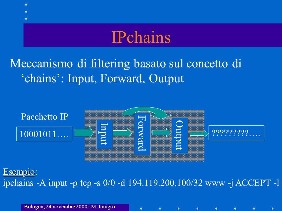 IPchains Meccanismo di filtering basato sul concetto di 'chains': Input, Forward, Output. Pacchetto IP.