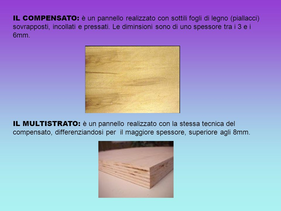 IL COMPENSATO: è un pannello realizzato con sottili fogli di legno (piallacci) sovrapposti, incollati e pressati. Le diminsioni sono di uno spessore tra i 3 e i 6mm.