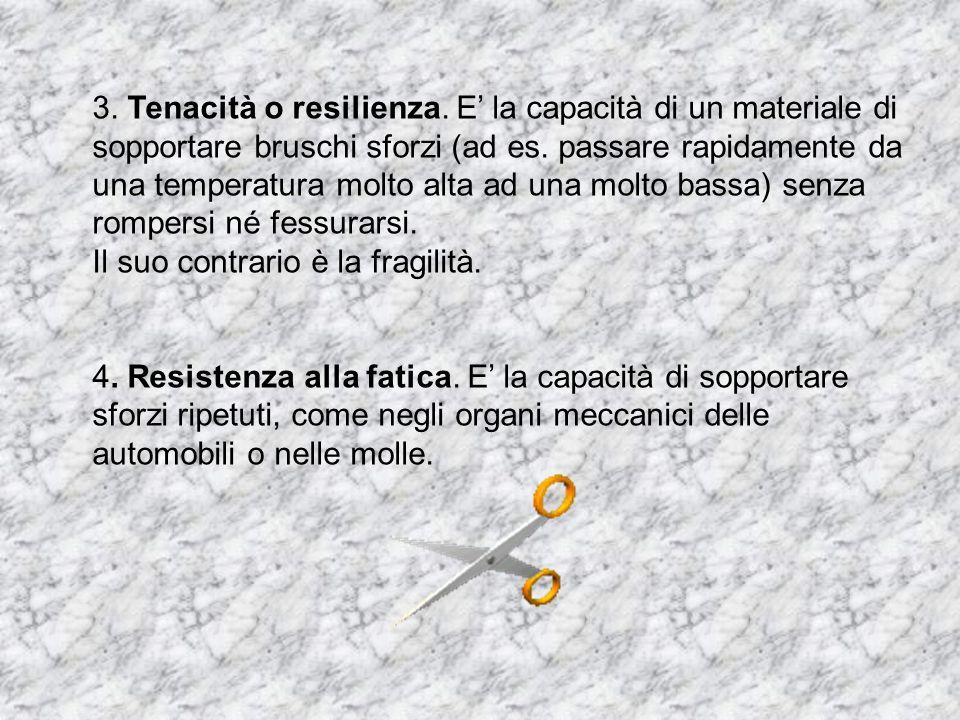 3. Tenacità o resilienza. E' la capacità di un materiale di sopportare bruschi sforzi (ad es. passare rapidamente da una temperatura molto alta ad una molto bassa) senza rompersi né fessurarsi.
