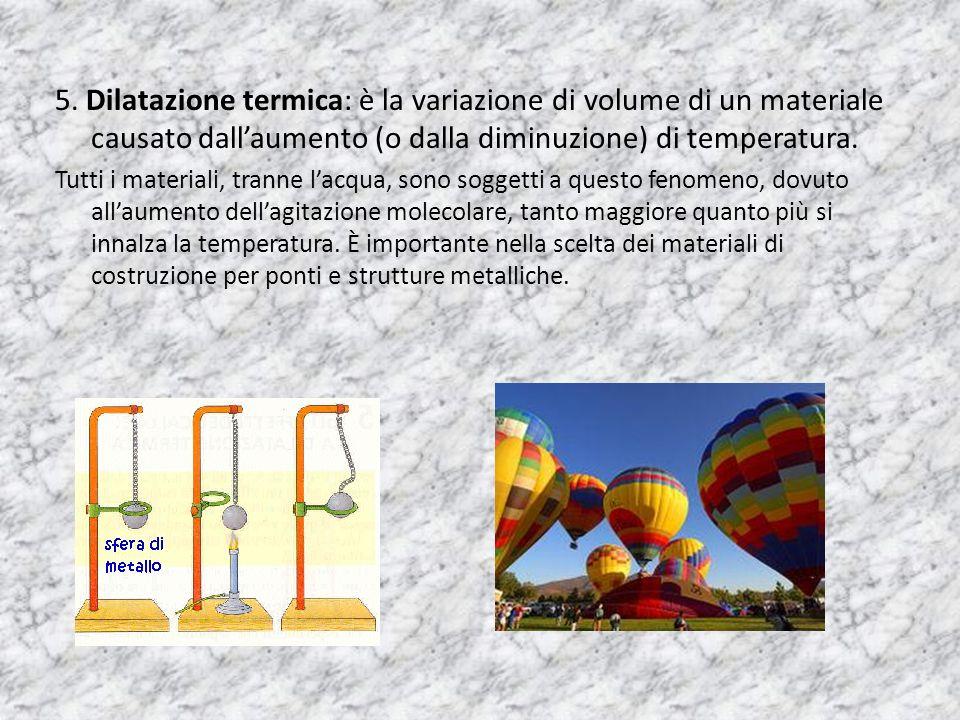 5. Dilatazione termica: è la variazione di volume di un materiale causato dall'aumento (o dalla diminuzione) di temperatura.