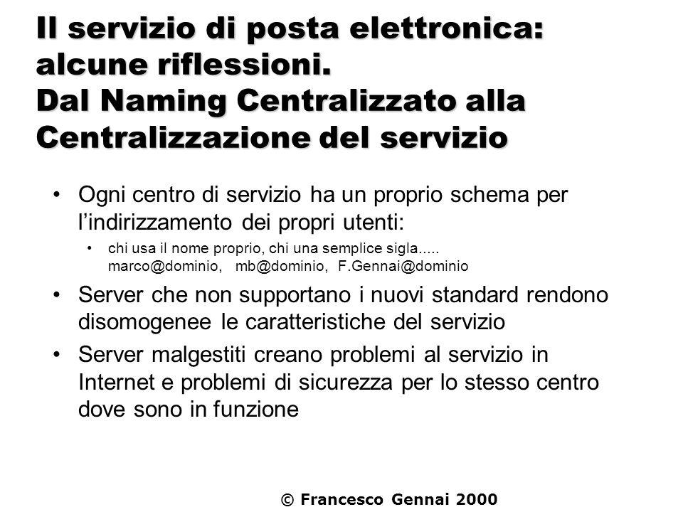 Il servizio di posta elettronica: alcune riflessioni