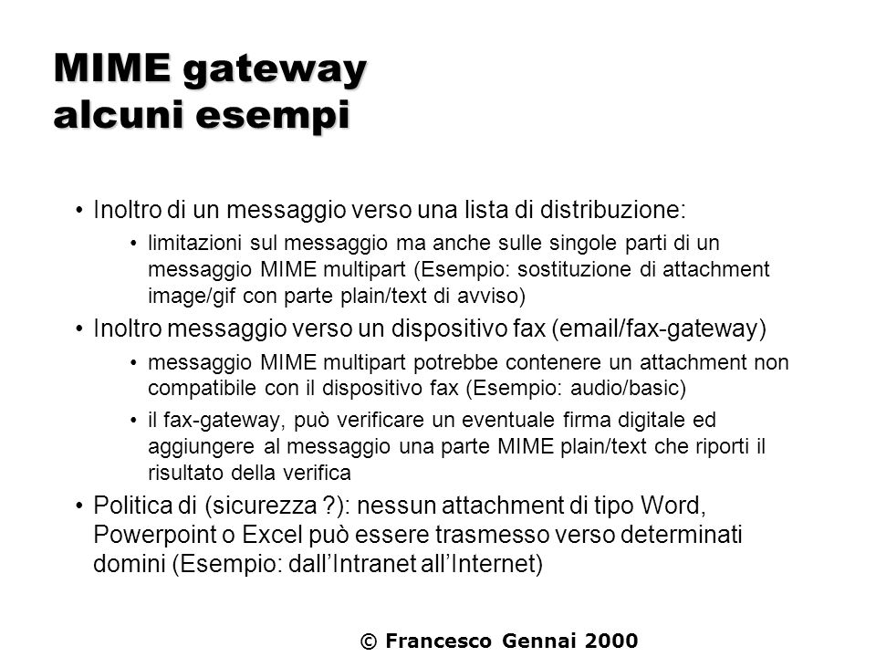 MIME gateway alcuni esempi