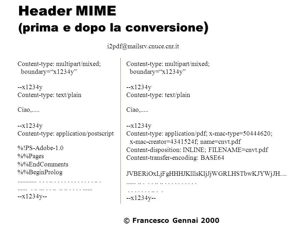 Header MIME (prima e dopo la conversione)