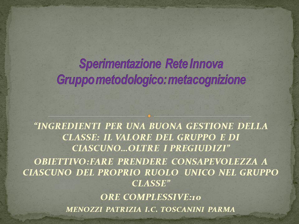 Sperimentazione Rete Innova Gruppo metodologico: metacognizione