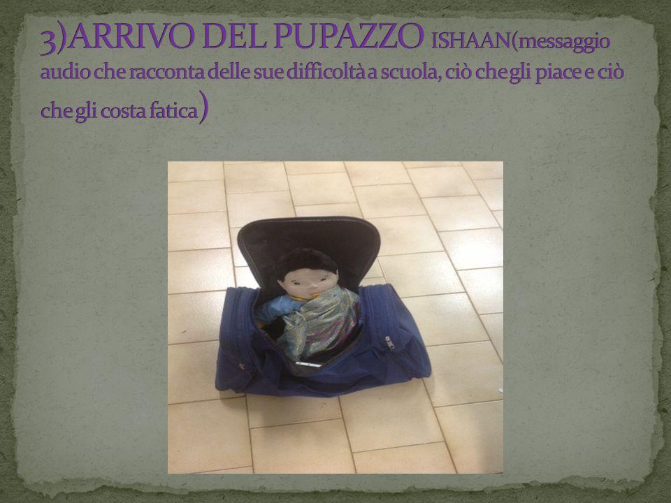 3)ARRIVO DEL PUPAZZO ISHAAN(messaggio audio che racconta delle sue difficoltà a scuola, ciò che gli piace e ciò che gli costa fatica)