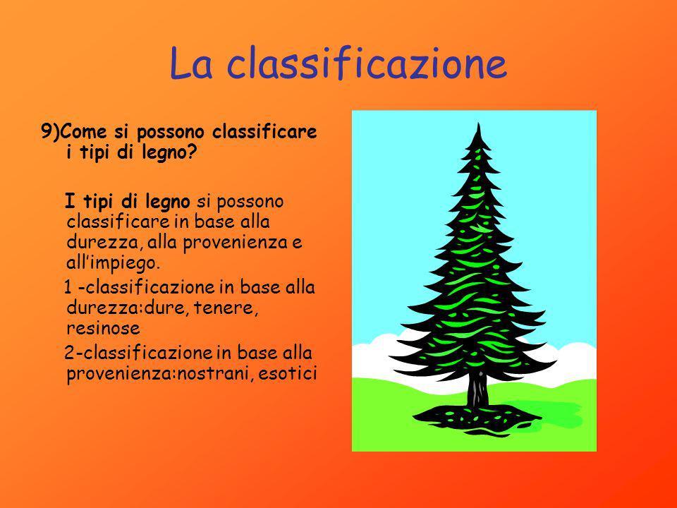 La classificazione 9)Come si possono classificare i tipi di legno