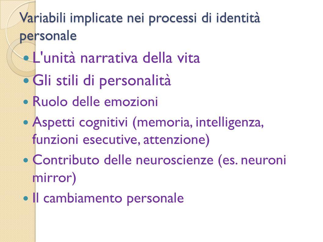 Variabili implicate nei processi di identità personale
