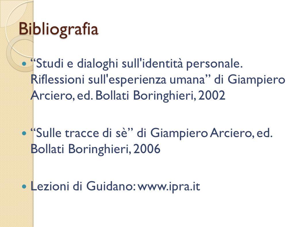 Bibliografia Studi e dialoghi sull identità personale. Riflessioni sull esperienza umana di Giampiero Arciero, ed. Bollati Boringhieri, 2002.