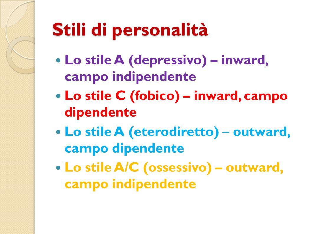 Stili di personalità Lo stile A (depressivo) – inward, campo indipendente. Lo stile C (fobico) – inward, campo dipendente.