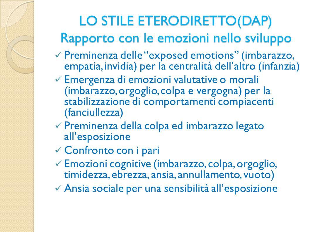 LO STILE ETERODIRETTO(DAP) Rapporto con le emozioni nello sviluppo