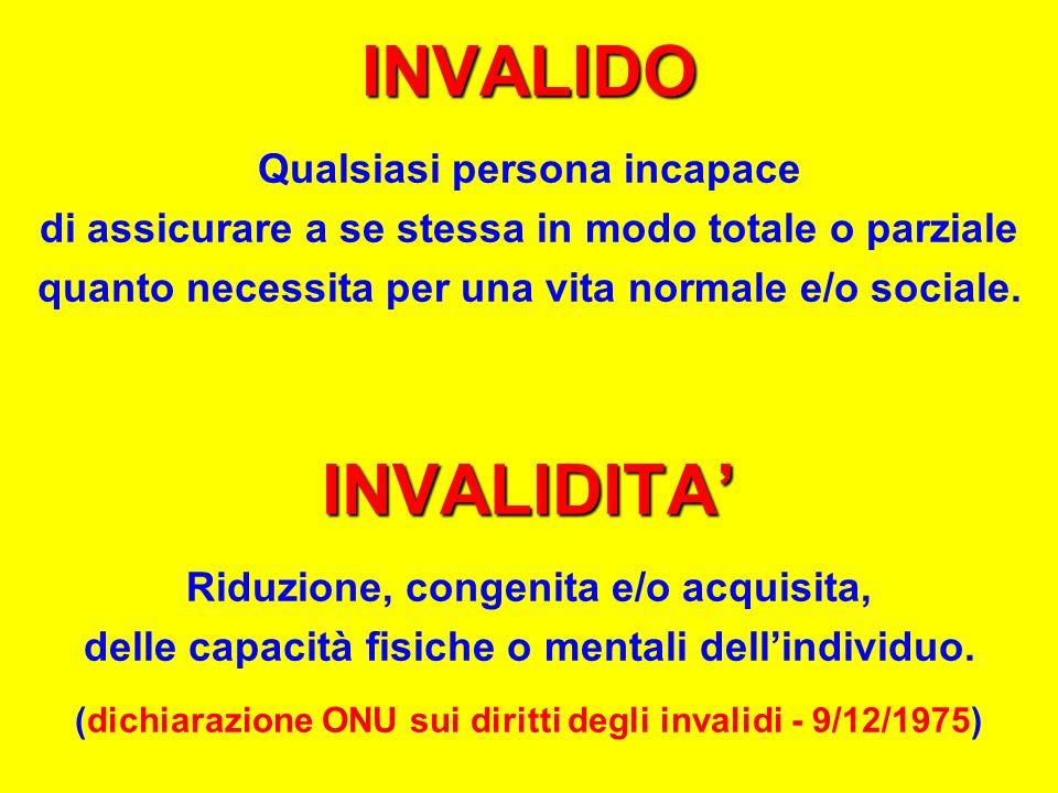 INVALIDO INVALIDITA' Qualsiasi persona incapace