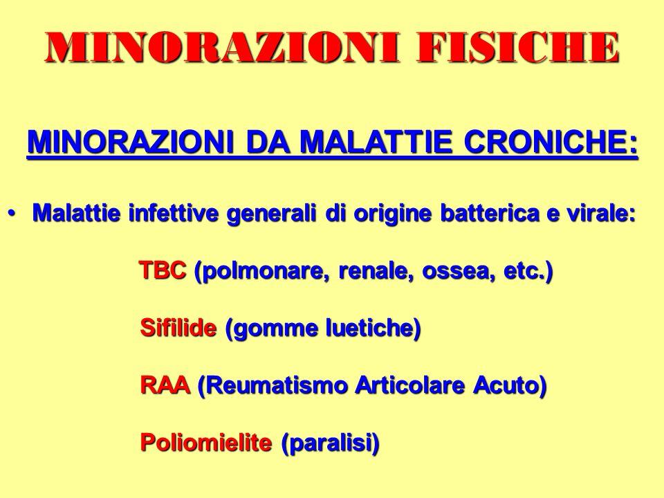 MINORAZIONI DA MALATTIE CRONICHE: