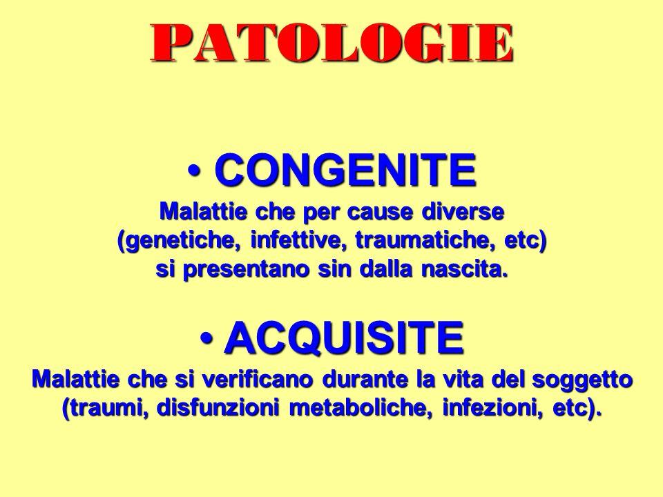 PATOLOGIE CONGENITE ACQUISITE Malattie che per cause diverse