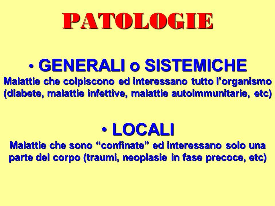 PATOLOGIE LOCALI GENERALI o SISTEMICHE