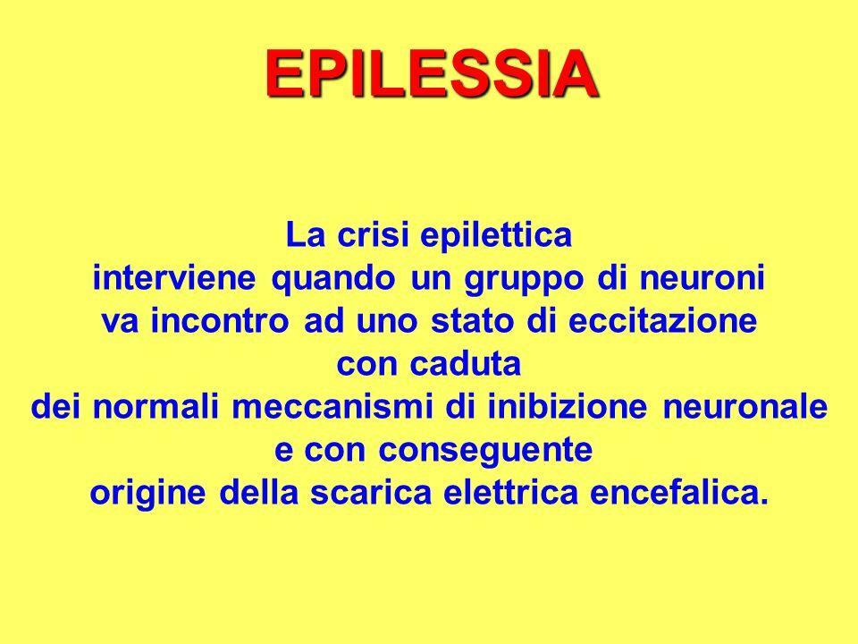 EPILESSIA La crisi epilettica interviene quando un gruppo di neuroni