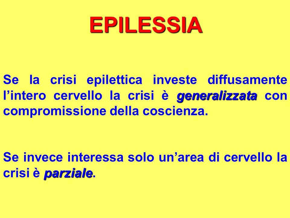 EPILESSIA Se la crisi epilettica investe diffusamente l'intero cervello la crisi è generalizzata con compromissione della coscienza.