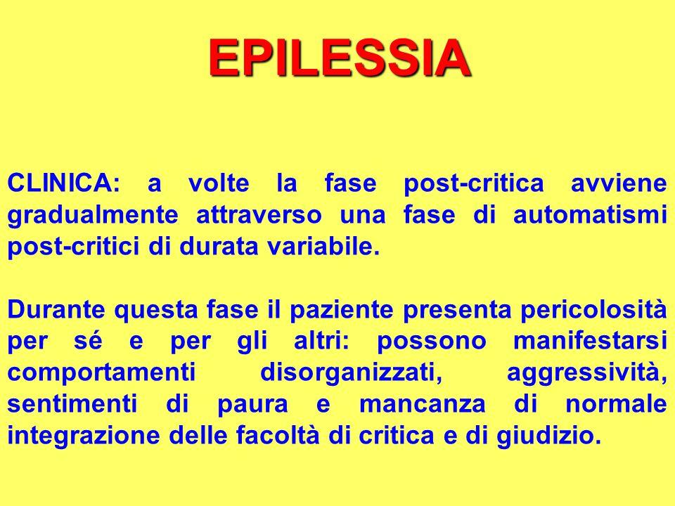 EPILESSIA CLINICA: a volte la fase post-critica avviene gradualmente attraverso una fase di automatismi post-critici di durata variabile.
