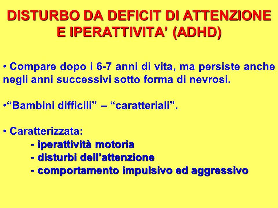 DISTURBO DA DEFICIT DI ATTENZIONE E IPERATTIVITA' (ADHD)