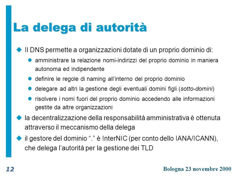 La delega di autorità Il DNS permette a organizzazioni dotate di un proprio dominio di: