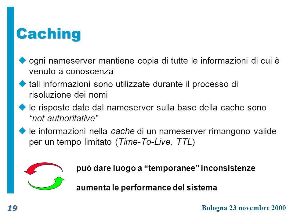 Caching ogni nameserver mantiene copia di tutte le informazioni di cui è venuto a conoscenza.