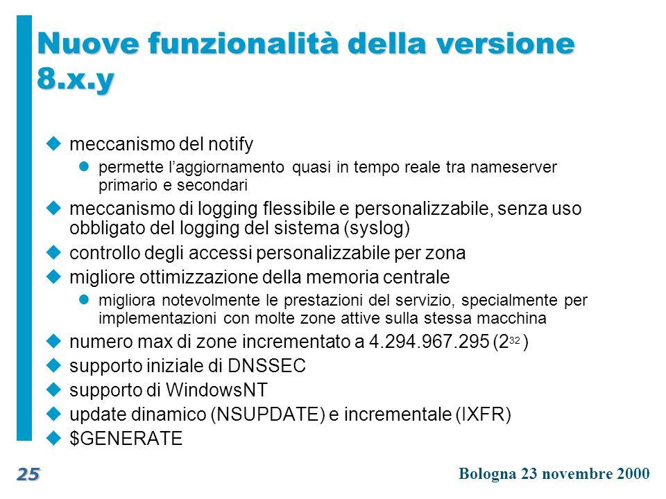 Nuove funzionalità della versione 8.x.y