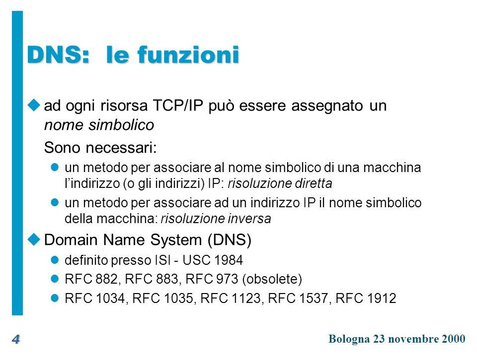 DNS: le funzioni ad ogni risorsa TCP/IP può essere assegnato un nome simbolico. Sono necessari:
