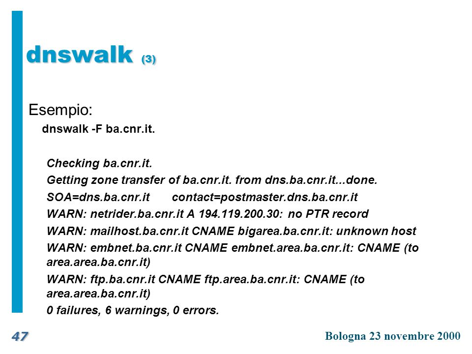 dnswalk (3) Esempio: dnswalk -F ba.cnr.it. Checking ba.cnr.it.