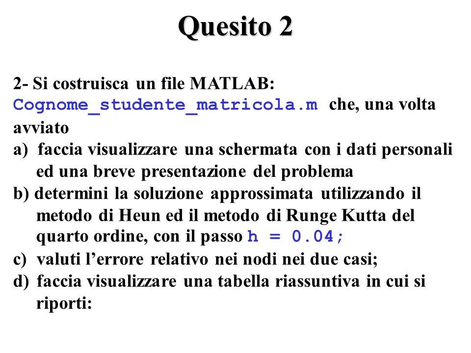 Quesito 2 2- Si costruisca un file MATLAB: