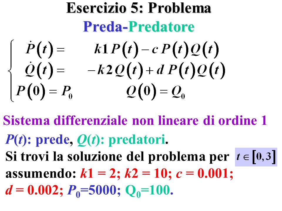 Esercizio 5: Problema Preda-Predatore