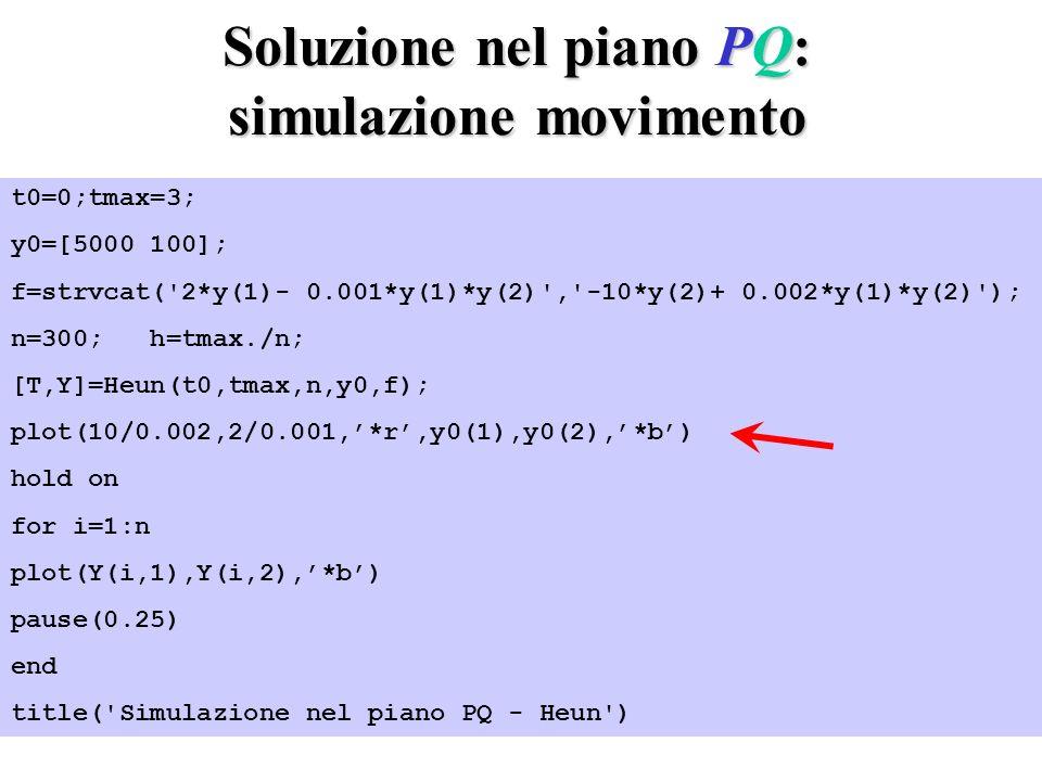 Soluzione nel piano PQ: simulazione movimento