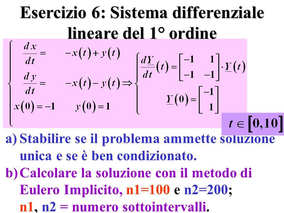 Esercizio 6: Sistema differenziale lineare del 1° ordine