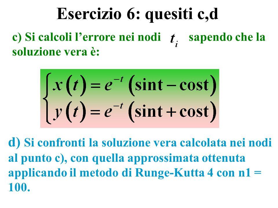 Esercizio 6: quesiti c,d c) Si calcoli l'errore nei nodi sapendo che la soluzione vera è: