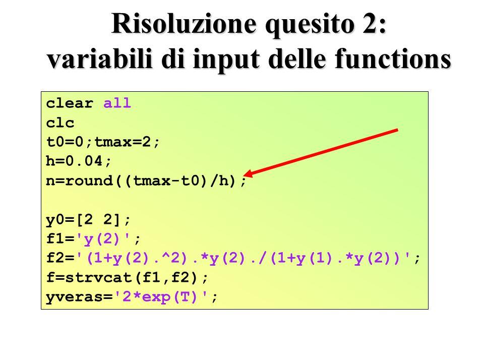 Risoluzione quesito 2: variabili di input delle functions