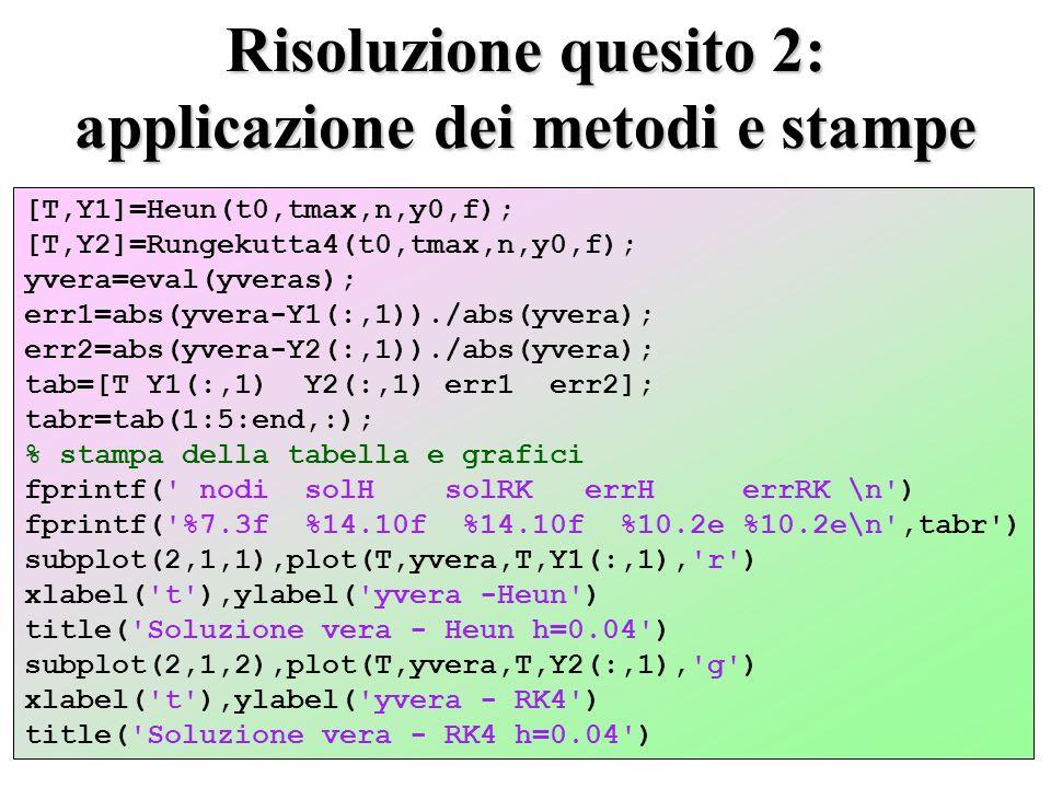 Risoluzione quesito 2: applicazione dei metodi e stampe