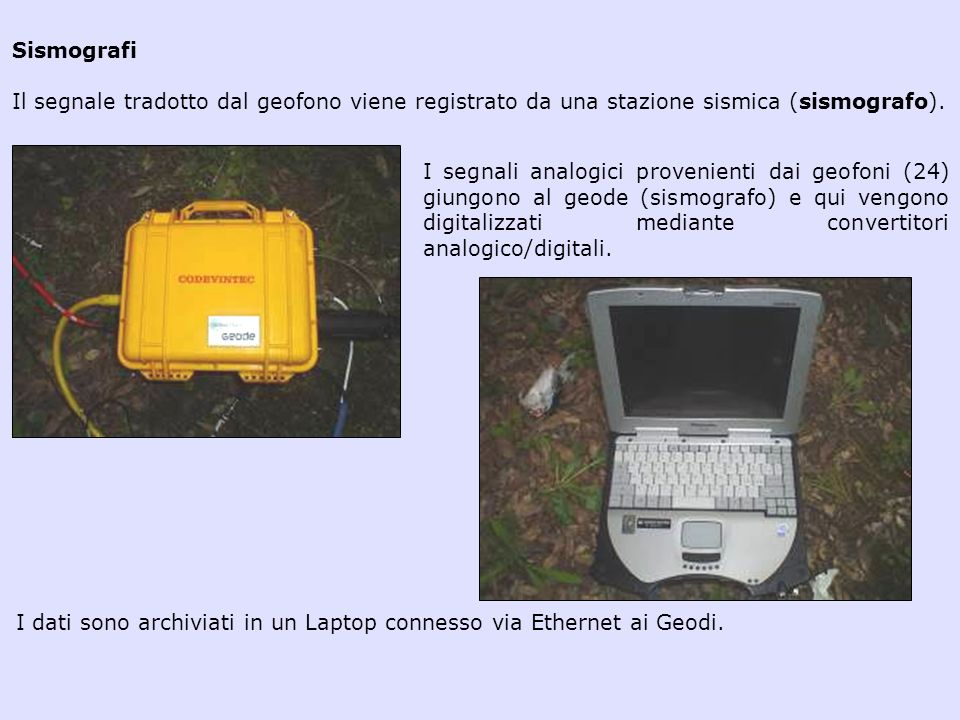 Sismografi Il segnale tradotto dal geofono viene registrato da una stazione sismica (sismografo).