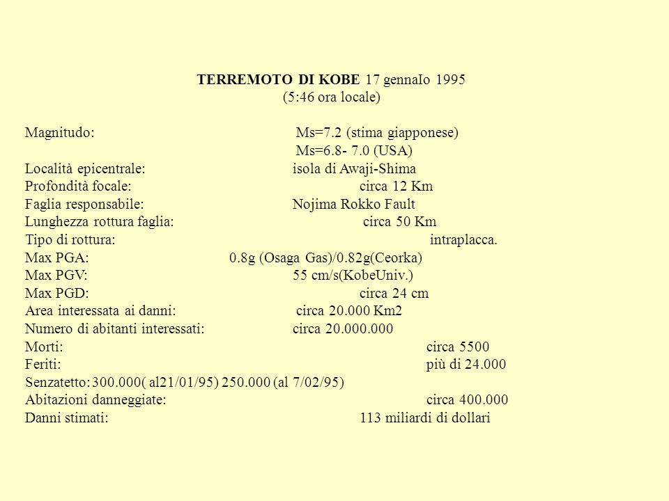 TERREMOTO DI KOBE 17 gennaIo 1995