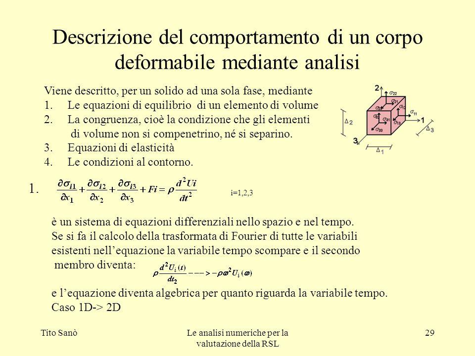Descrizione del comportamento di un corpo deformabile mediante analisi