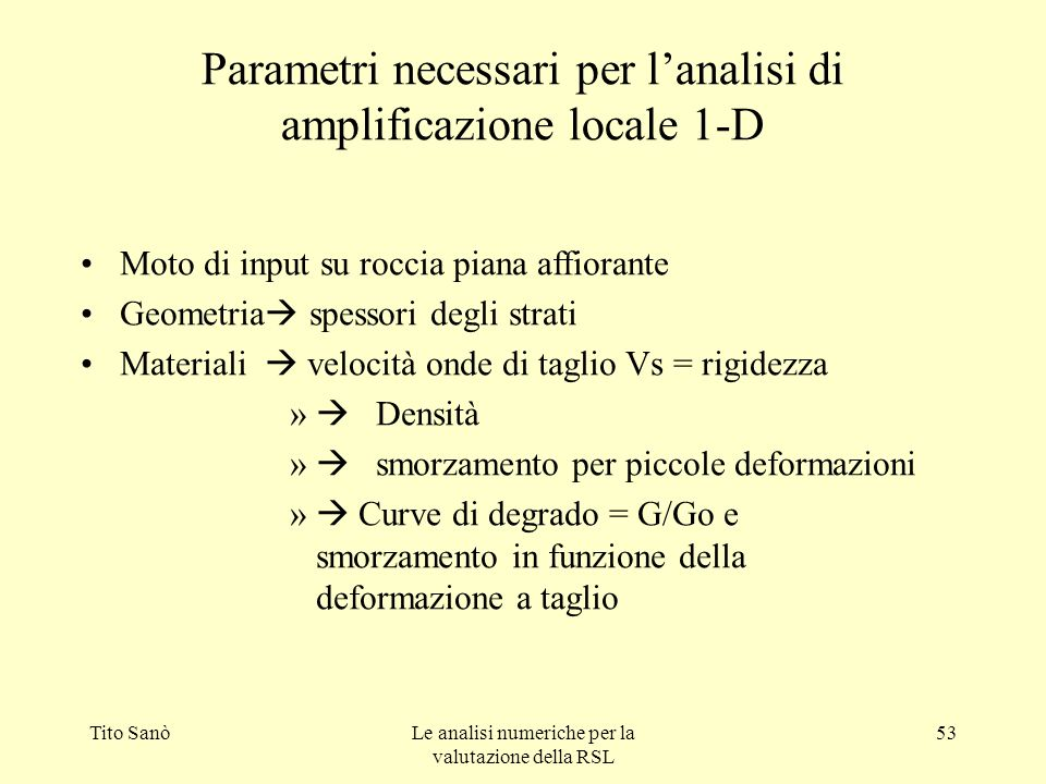 Parametri necessari per l'analisi di amplificazione locale 1-D