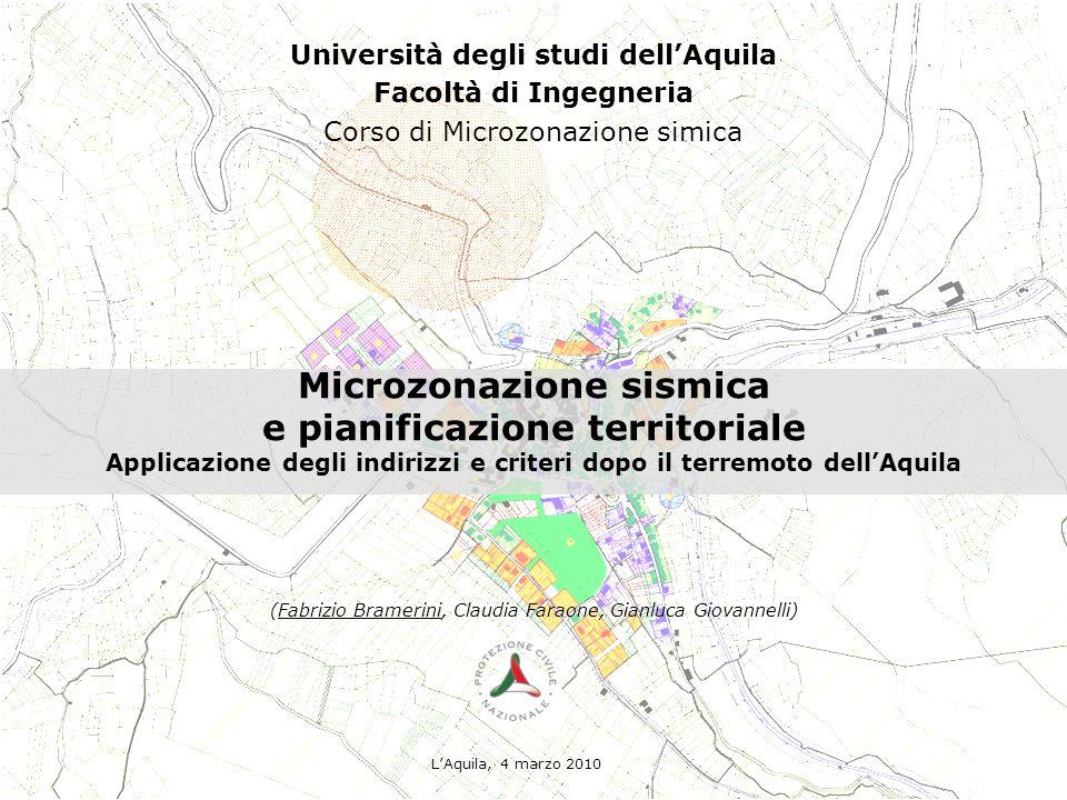 Microzonazione sismica e pianificazione territoriale