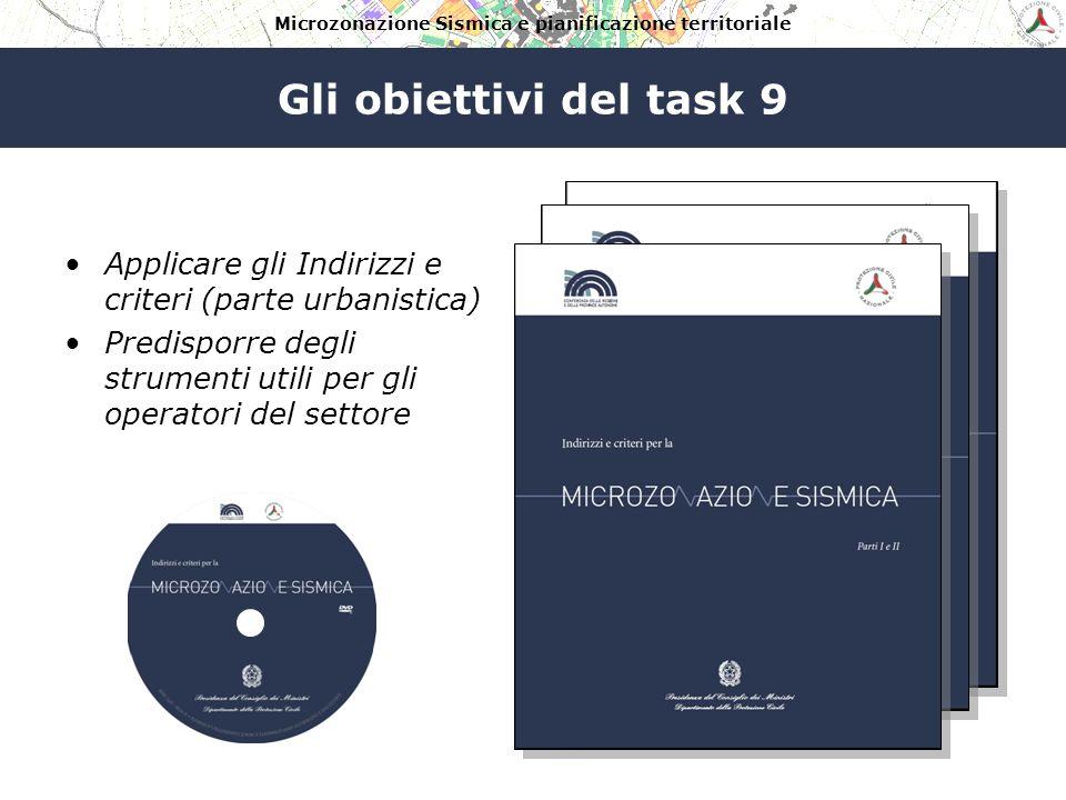 Gli obiettivi del task 9 Applicare gli Indirizzi e criteri (parte urbanistica) Predisporre degli strumenti utili per gli operatori del settore.