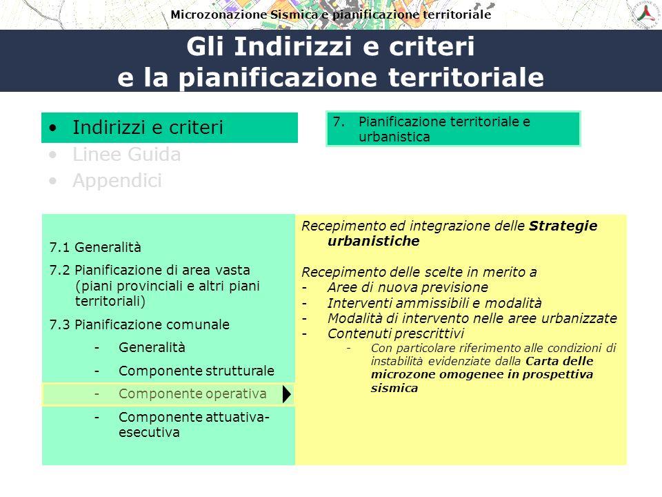 Gli Indirizzi e criteri e la pianificazione territoriale