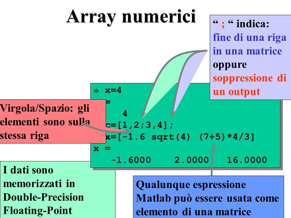 Array numerici ; indica: fine di una riga in una matrice oppure soppressione di un output. » x=4.