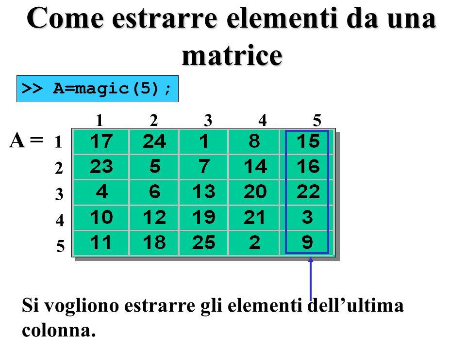 Come estrarre elementi da una matrice