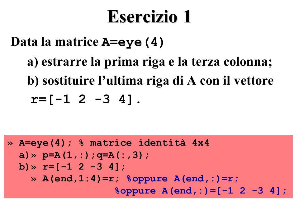 Esercizio 1 Data la matrice A=eye(4)