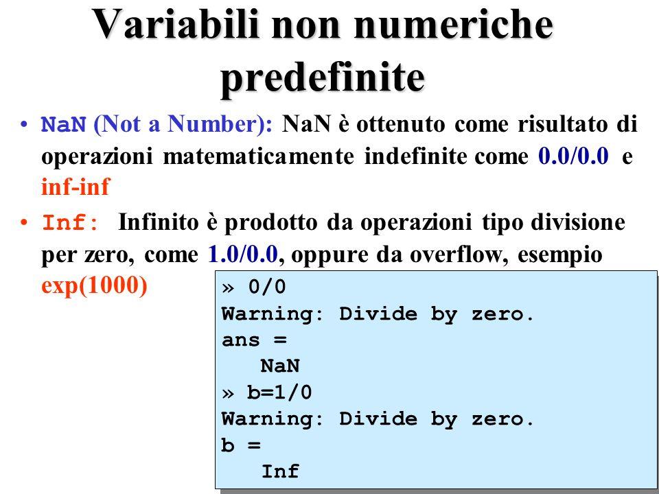 Variabili non numeriche predefinite