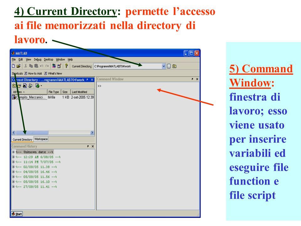 4) Current Directory: permette l'accesso ai file memorizzati nella directory di lavoro.